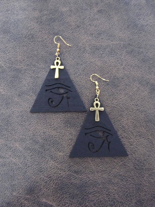 Egyptian African earrings, bold statement earrings, ethnic earrings, wooden earrings, Afrocentric eye of Horus earrings, ankh black by Afrocasian