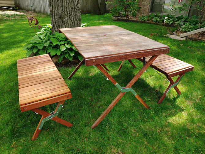 Wood Marlboro Roll Out Folding Picnic Table with Carrying Bags by RedsRustyRelics