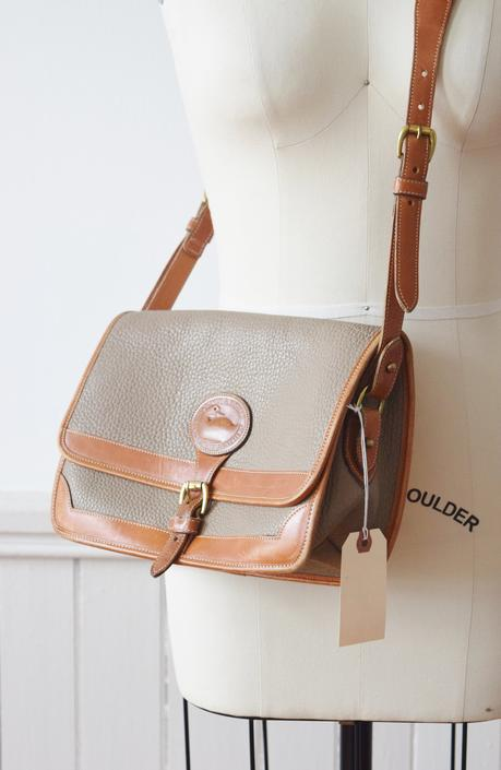 Vintage Dooney & Bourke All Weather Leather Crossbody Bag / Purse in Putty and British Tan by wemcgee