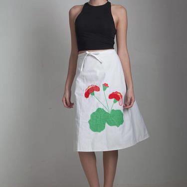 wrap apron skirt vintage 70s white green red floral applique kitschy EXTRA Small - Small XS S by shoprabbithole