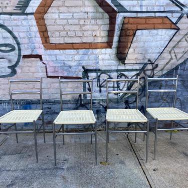 Mid century Italian modern Gio Ponti dining chairs beautiful design chrome back white woven seats set of 4 by symmetrymodern