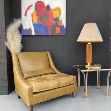 Olive Green Leather Lounge Chair