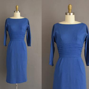 vintage 1950s dress | Royal Blue Cocktail Party Pencil Skirt Dress | Small | 50s vintage dress by simplicityisbliss