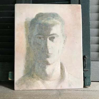 1950s Mid Century Painting, Original Artwork, Signed Dated by Artist, Portrait, Modern Artwork Decor by JansVintageStuff