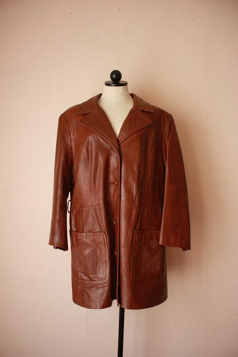70s Brown Leather Coat with Embellished Patch Pockets Size L / XL by NoSurrenderVintage