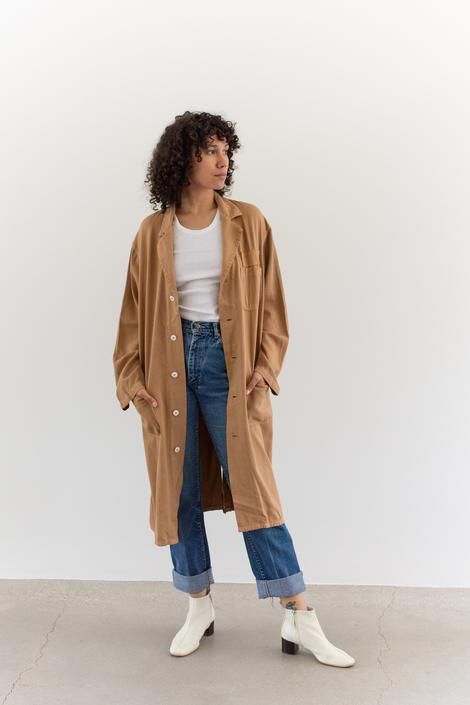 Vintage Almond Brown Overdye Shop Coat | Brown Chore Trench Jacket Duster | M L | by RAWSONSTUDIO