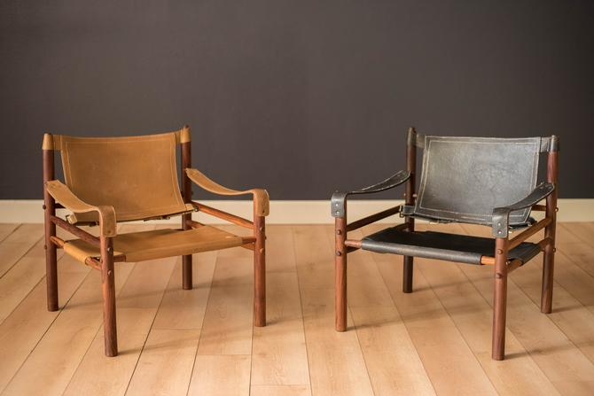 Mid Century Rosewood and Leather Sirocco Safari Lounge Chair by Arne Norell by MidcenturyMaddist
