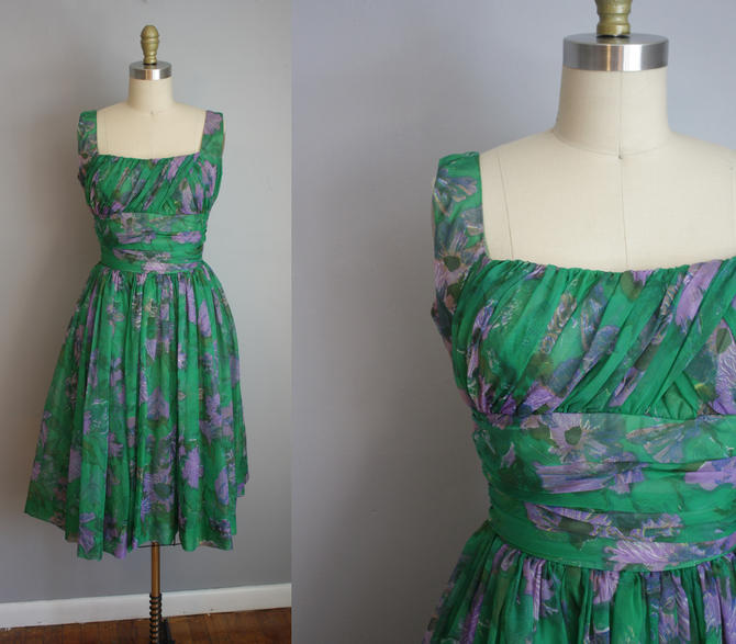 1950s Party Dress // Green and Purple Floral // Small by LawrenceOfBaltimore
