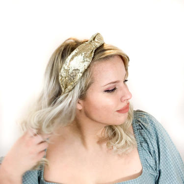Sequin Knot Headband - / Blush / Champagne / Gold / Glam / Gatsby / Woman / Adult / by IrisAtelierCouture