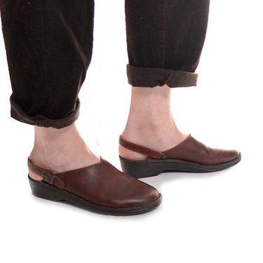HOLIDAY SALE Josef Seibel slingback mules / brown leather clogs / vintage slip on mules / size 40 by DressingVintage