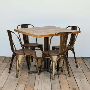 Small Dining Table or Kitchen Table with 4 prong steel pedestal base.  Choose size, height and finish.  Custom inquiries welcome. by UrbanWoodGoods