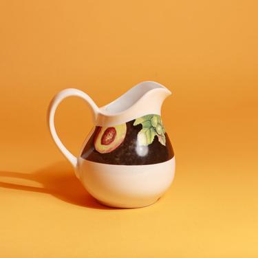 80s White Ceramic Grape Print Small Pitcher by AppleBranchesVintage