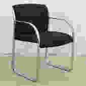 Modern Navy Blue Pattern Upholstered Chrome Chair