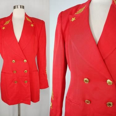 Vintage Eighties Solini Red Oversized Double Breasted Military Inspired Blazer - 80s 6 Small/Medium Blazer with Gold Stars by JanetandJaneVintage