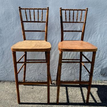 Pair of Bar Stools Dining Chairs Chinese Chippendale Bamboo Chic Rattan Regency Seating Chinoiserie Wood Boho Chiavari Custom Paint Avail by DejaVuDecors