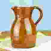 "Vintage French Handmade Stoneware ""Berry"" Pitcher"