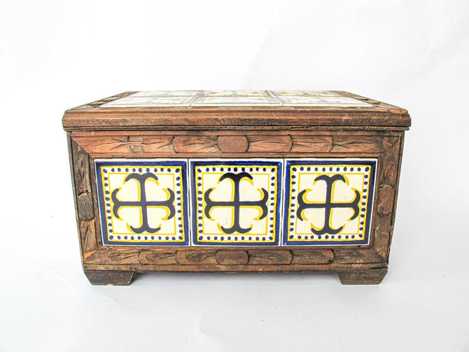 Vintage Hand Made Painted Tile and Carved Wood Trunk- From Mexico by PortlandRevibe