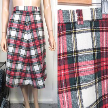 Vintage 70s Deadstock Tartan Plaid A Line Wool Blend High Waist Midi Skirt Size 28 Waist by VelvetCastleVintage