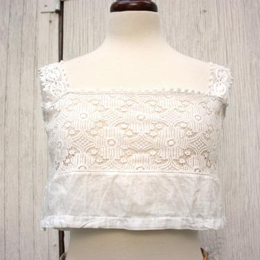 1910s Edwardian Corset Cover Camisole Bralette Lace Sheer Cropped Size M by NoSurrenderVintage