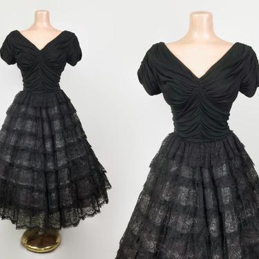 VINTAGE 50s Black Tiered Lace Draped Jersey Cupcake Party Dress  | 1950s Gothic Princess Prom Dress | Ruched Bodice Full Sweep Formal Gown by IntrigueU4Ever