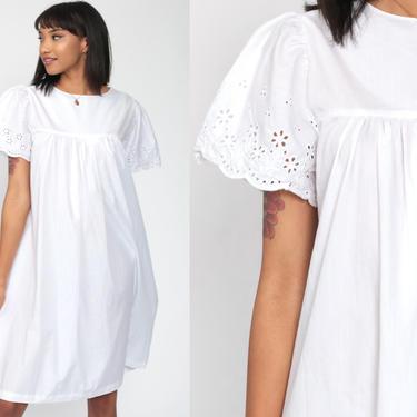 White Cotton Dress Boho 70s EYELET Lace Dress 80s Midi Summer Festival Hippie Bohemian Vintage Trapeze Tent Beach Caftan Medium by ShopExile