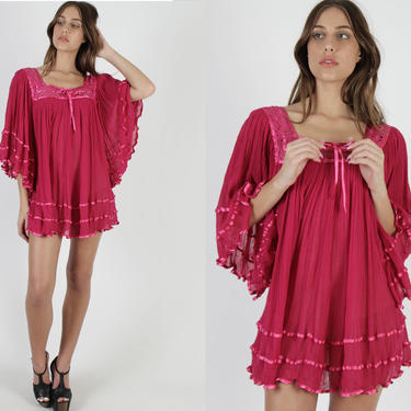Hot Pink Gauze Mini Dress Kimono Sleeves Dress Vintage 80s Magenta Floral Crochet Lace Angel Sleeve Top Solid Color Sheer Short Dress by americanarchive