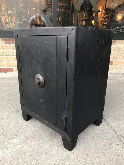Black Wooden Prop Safe Side Table