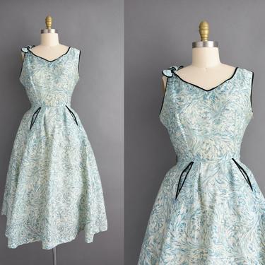 1950s vintage dress | Gorgeous Blue Silk Abstract Print Black Velvet Rhinestone Cocktail Party Full Skirt Dress | Large | 50s dress by simplicityisbliss