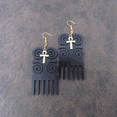 Afro comb earrings, adinkra earrings, wooden earrings, Afrocentric African earrings, bold statement earrings, tribal wood earrings, black by Afrocasian