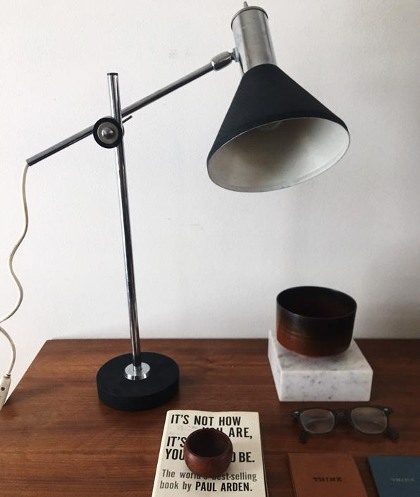 Sleek Black Cone Shade Positionable Desk Lamp Vintage Fog Morup Hala Midcentury Germany by CaribeCasualShop