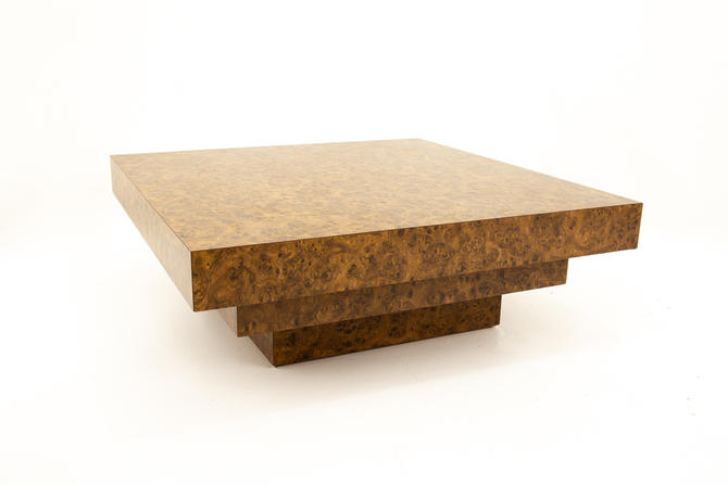 Milo Baughman Style Mid Century Burlwood Formica 3 Tier Coffee Table - mcm by ModernHill