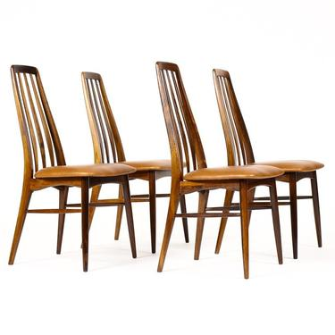 """Danish Modern / Mid Century """"Eva"""" Dining Chairs — Niels Koefoed — Rosewood Frames — Set of Four — Cognac leather by atomicthreshold"""