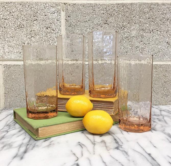 Vintage Drinking Glasses Set Retro 1960s Libbey + Facets Pattern + Clear + Pink + Set of 4 + Mid Century Modern + Highballs + Kitchen Decor by RetrospectVintage215