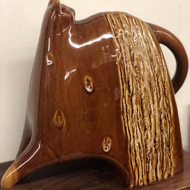Vintage mid century modern ceramic glaze cat sculpture Art Deco retro handmade studio pottery brown animal abstract by BigWhaleConsignment