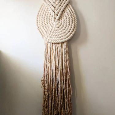 "Medium ""Lyric"" WITHOUT Accent Knob-Macrame Wall Hanging, Textile Fiber Knot Art, Fringe Scandi Style, Bohemian Accent, Macrame Rope Art by shopcandiceluter"