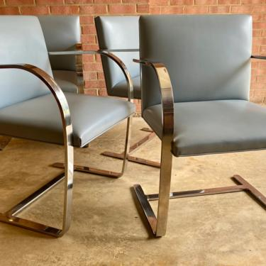 Set of 4 Authentic Knoll BRNO Chairs with Flat Bar Light Blue Leather by MSGEngineering