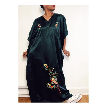 Vintage 1970s 1980s 70s Black Satin Caftan Kaftan Tunic Embroidered Dashiki Dress Coverup Boho Bohemian Long One Size Lounge Wear Gown by KeepersVintage