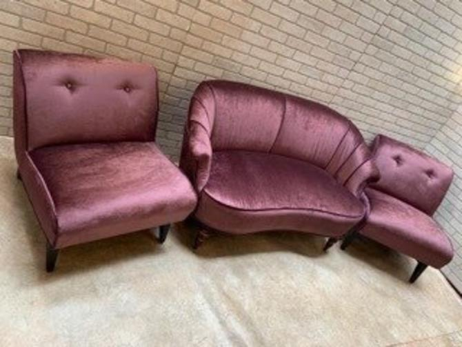 Art Deco Curved Channel Back Settee and 2 Lounge Chairs Newly Upholstered in Velvet