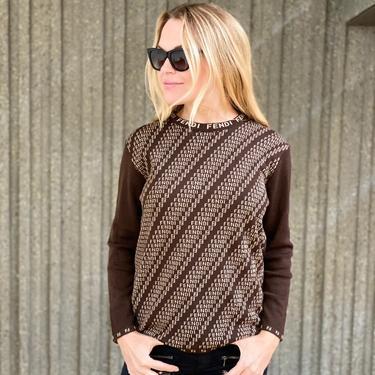 Vintage FENDI Zucca FF Monogram Letters Beige Brown Soft Sweater Jumper Shirt Blouse Tunic Top S / M by MoonStoneVintageLA