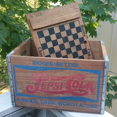 1930s Bottle Cap Checkers Pepsi-Cola Wooden Bottle Crate Box Coke Coca-Cola 7Up Soda Seltzer Stool Table by BrainWashington