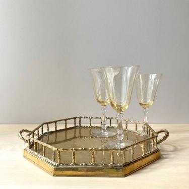 vintage brass octogonal serving tray - faux bamboo detail by ionesAttic
