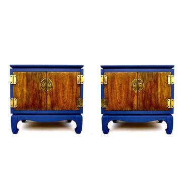 LANE Mid-Century Nightstands -A Pair    Chinoiserie Two-Tone Blue & Wood Bedside Tables/Commodes   Ming Style Feet Brass Hardware by ELECTRICmarigold
