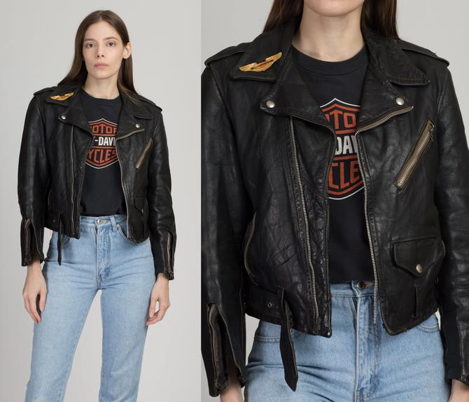 Vintage 1950s Schott Perfecto Leather Moto Jacket - Men's XS, Women's Small | Rare Steerhide Distressed Collectible Motorcycle Biker Coat by FlyingAppleVintage
