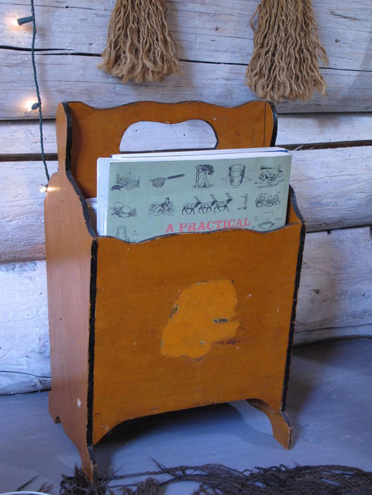Antique Magazine Rack Farmhouse Wood