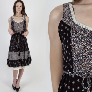 Vintage 70s Black Calico Dress Tiny Floral Lace Up Waist Tie Womens Western Folk Porch Dress Prairie Festival Midi Mini Dress by americanarchive