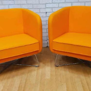 Rockwell Unscripted by Knoll Club Chairs on a Chrome Base in a