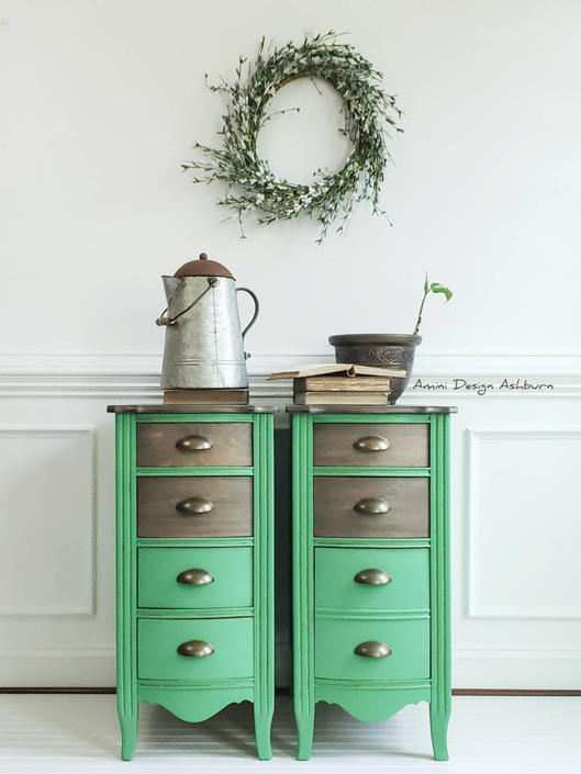 AVAILABLE Nightstands Farmhouse Style Vintage Painted Bedroom Furniture by AminiDesignAshburn