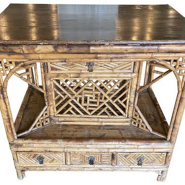 Bamboo & Mahogany Console Table, France, late 19th Cc