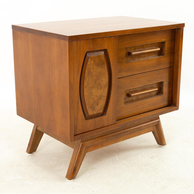 Young Manufacturing Mid Century Walnut Sliding Door Nightstand - mcm by ModernHill