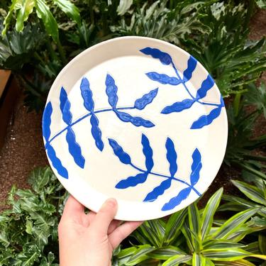 Botanical Ceramic Dinner/Dessert Plates - 8.75 inches - Cobalt Blue on White Handmade Dinnerware by BirdstoneCeramics